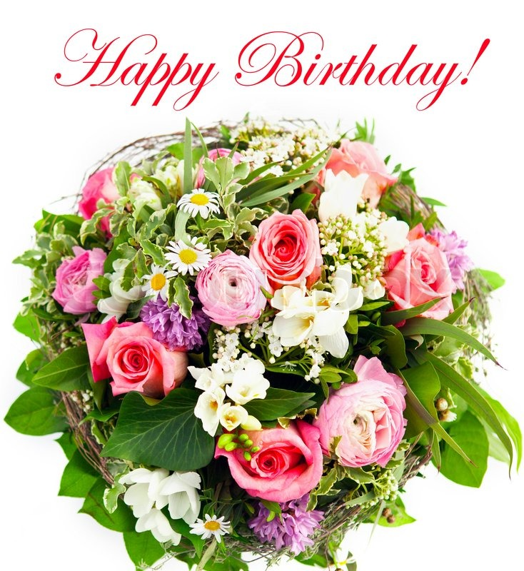 Stock image of 'Happy birthday. fresh flowers'