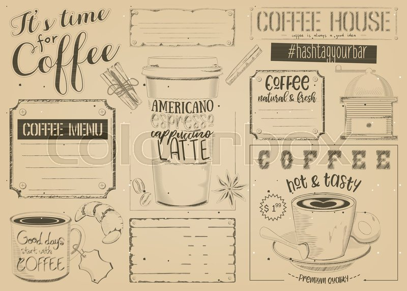 Coffee menu placemat design template for coffee shop restaurant coffee menu placemat design template for coffee shop restaurant and cafe vintage style on craft paper place for text vector illustration maxwellsz