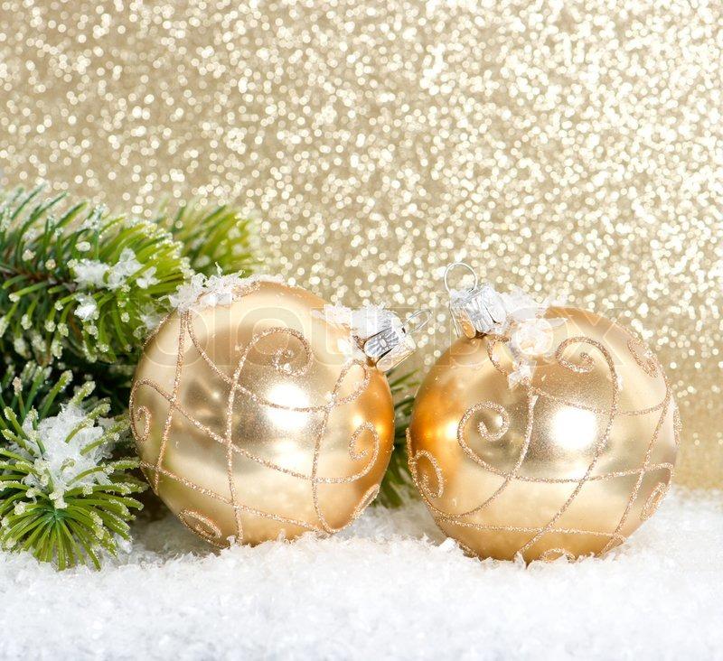 Goldene Weihnachtskugeln.Goldene Weihnachtskugeln Mit Stock Bild Colourbox