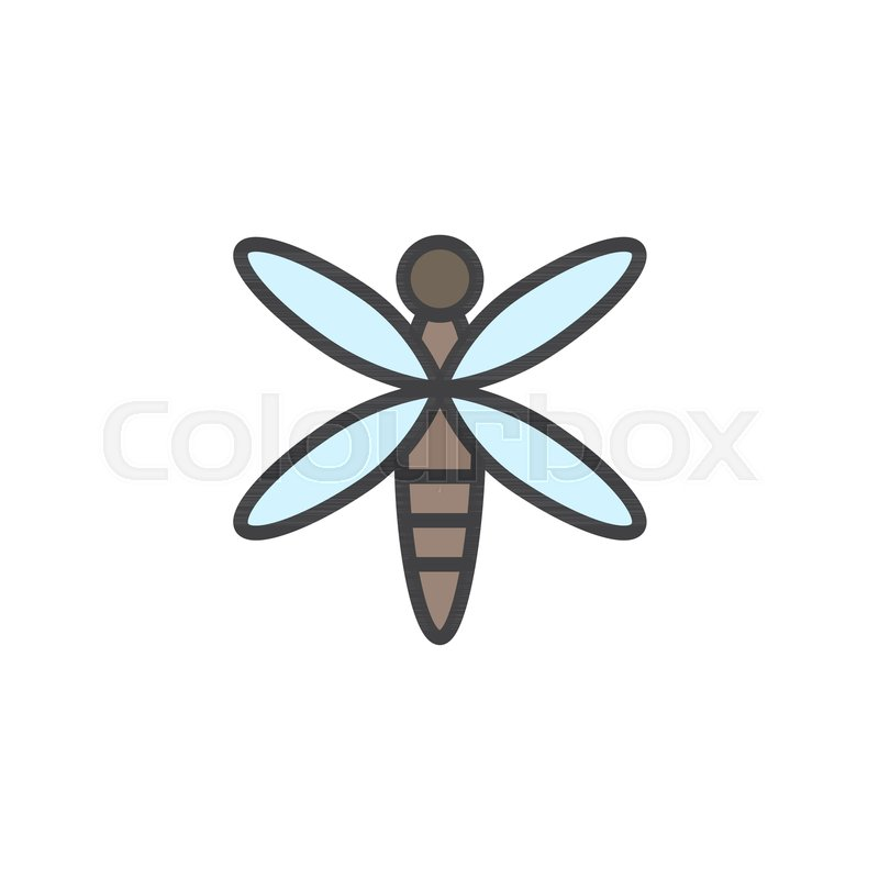 Dragonfly Filled Outline Icon Line Vector Sign Linear Colorful