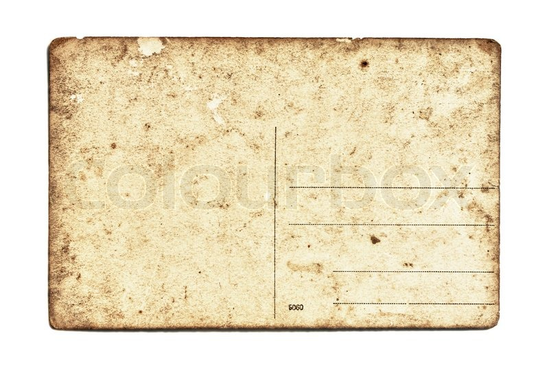 old postcard on white background stock photo colourbox