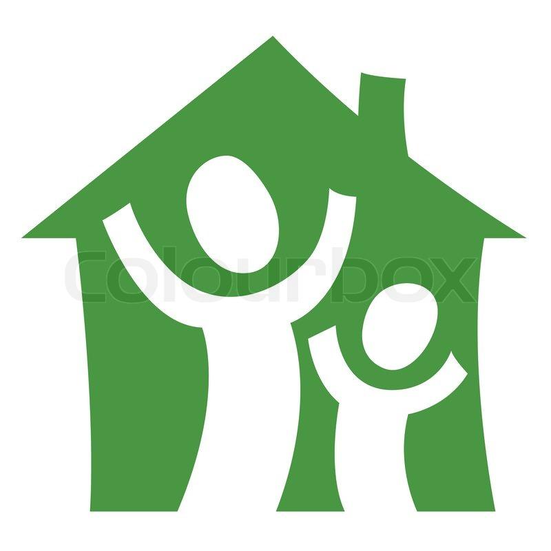 ein piktogramm zeigt ein kind mit einem erwachsenen ist in ihrem eigenen haus freuen. Black Bedroom Furniture Sets. Home Design Ideas