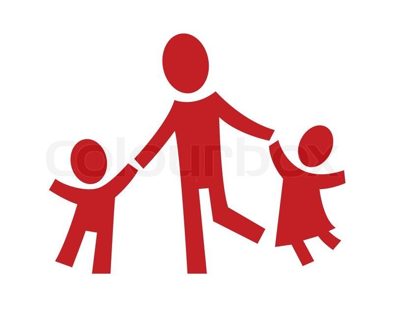 Ein Piktogramm Zeigt Ein Erwachsener Mit Zwei Kindern