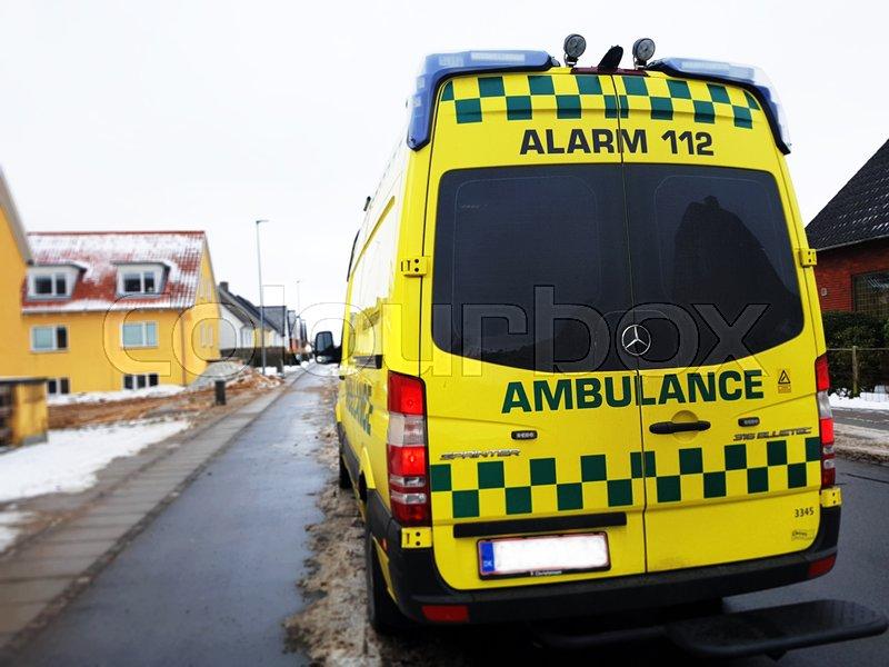 Dansk Ambulance Stock Foto Colourbox