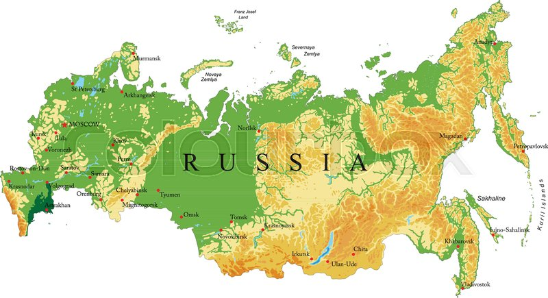Highly Detailed Physical Map Of Russia,in Vector Format,with All The Relief  Forms,regions And Big Cities, Vector