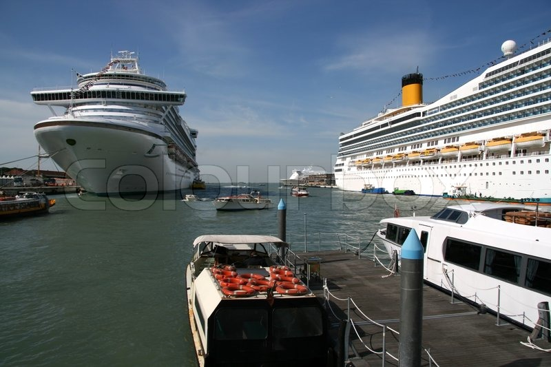 Huge Cruise Ships In Venice Port  Stock Photo  Colourbox