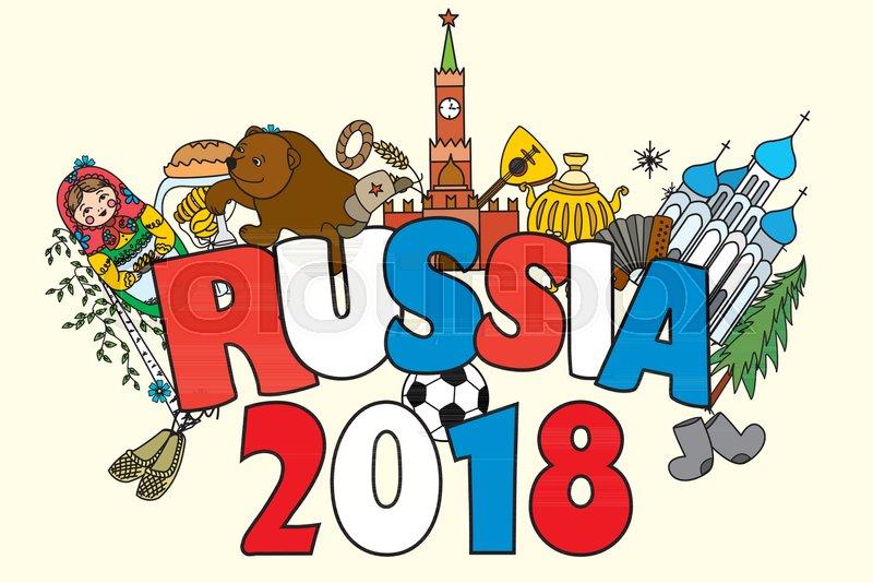 banner russia 2018 russian symbols travel russia russian traditions and ballfunny cartoon vector illustration vector
