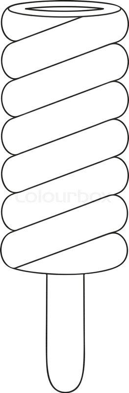 Black And White Line Art Icon Fruit Ice Cream Popsicle