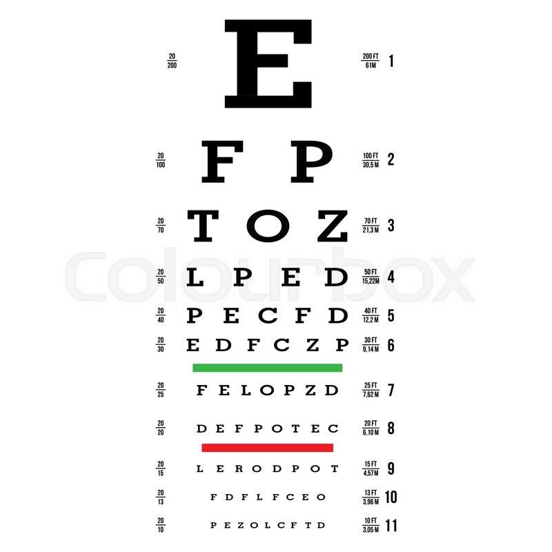 Eye Test Chart Vector Letters Chart Vision Exam Optometrist Check