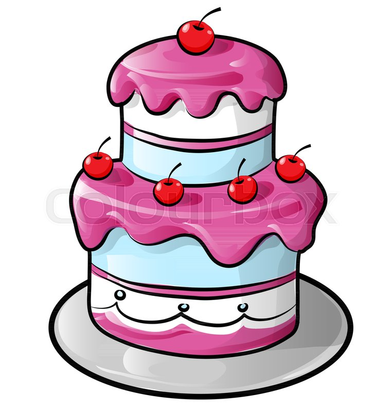 Colorful Birthday Cake With Outline Isolated On White Stock Vector