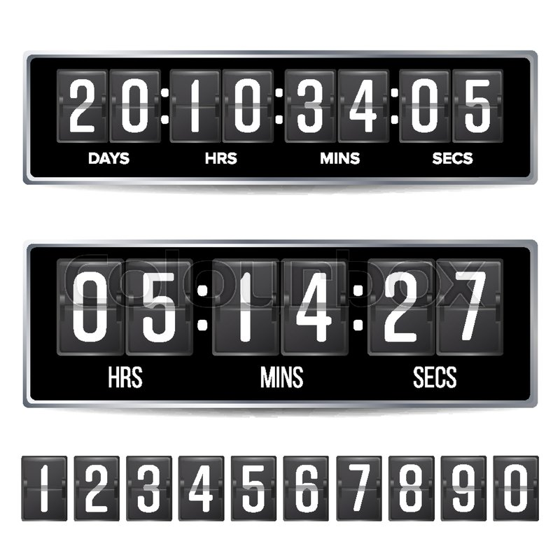 Flip Countdown Timer Vector. Analog Black Digital Scoreboard ...