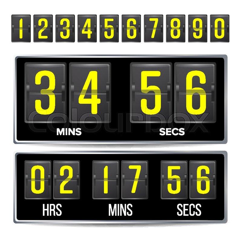 Flip Countdown Timer Vector. Black Flip Scoreboard Digital Timer ...
