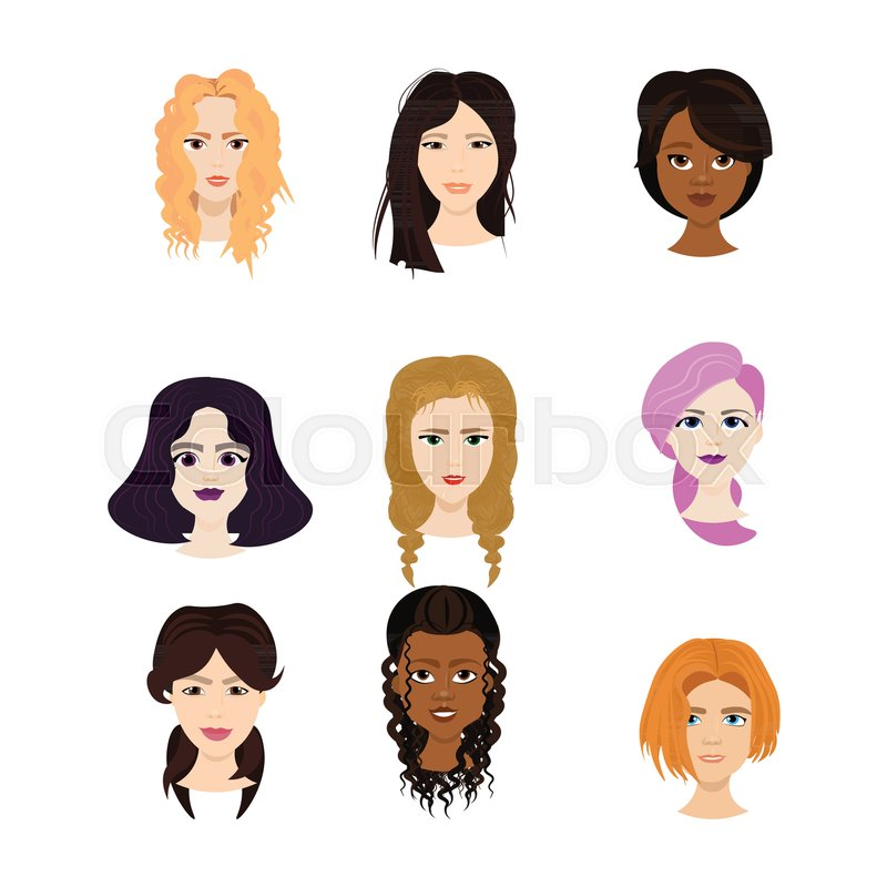 Set Of Female Faces Isolated On White Stock Vector Colourbox