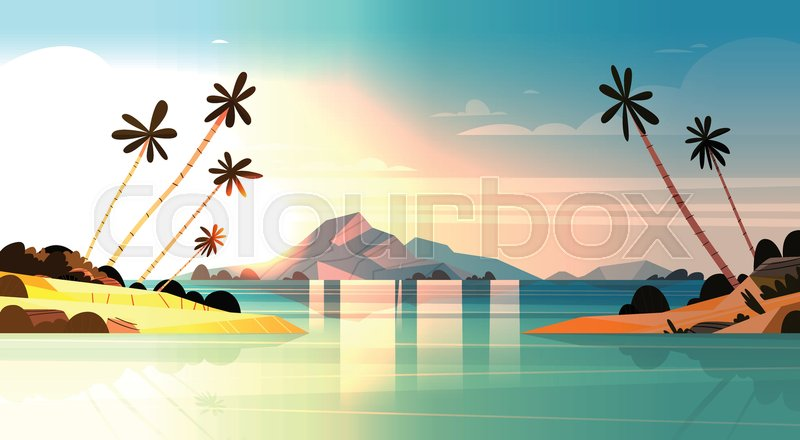 Stock Vector Of Tropical Sunset On Seaside Amazing Exotic Landscape Beach With Palm Trees