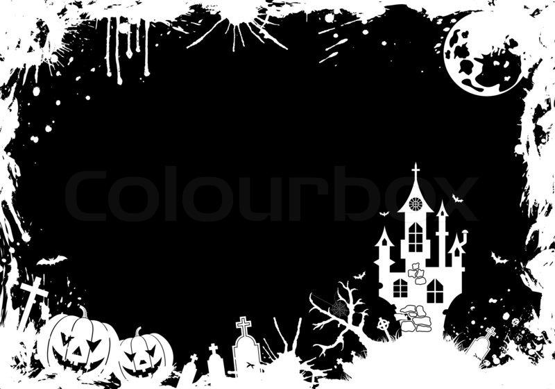 grunge halloween frame with pumpkin bat castle element for design