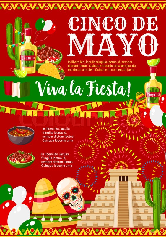Cinco de mayo greeting card for mexican holiday fiesta party cinco de mayo greeting card for mexican holiday fiesta party celebration of traditional symbols jalapeno pepper sombrero and tequila or skull m4hsunfo