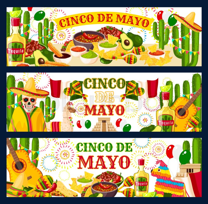 Cinco de mayo mexican holiday fiesta celebration greeting banners of cinco de mayo mexican holiday fiesta celebration greeting banners of traditional food and mexico symbols vector mexican flag tequila or cactus and tacos m4hsunfo
