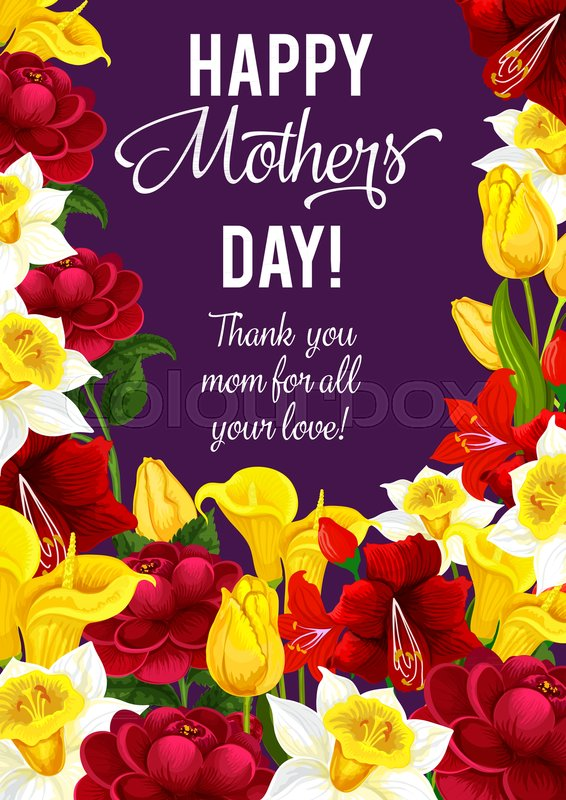 Happy Mother Day greeting banner with frame of spring flower ...
