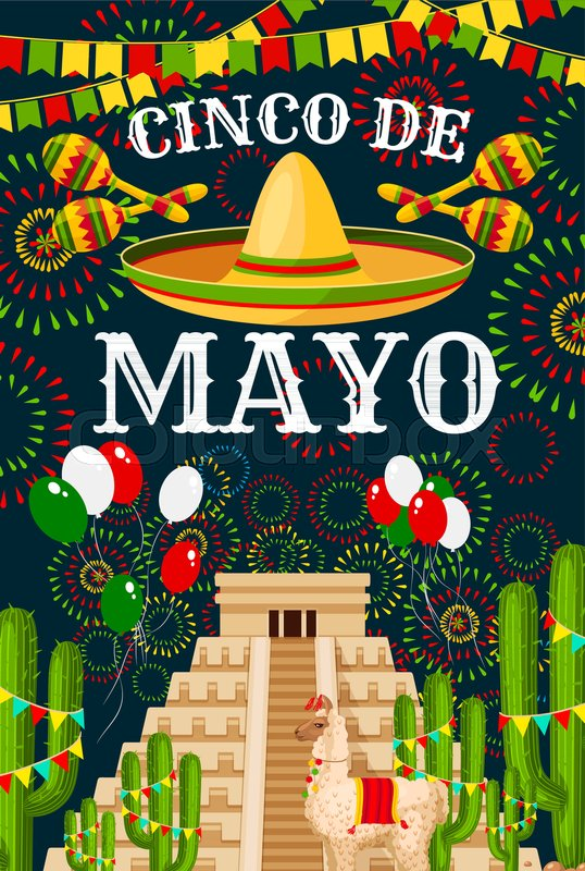 Cinco de mayo greeting card for mexican traditional holiday fiesta cinco de mayo greeting card for mexican traditional holiday fiesta party celebration vector sombrero and mexico flag balloons on aztec or maya pyramid m4hsunfo