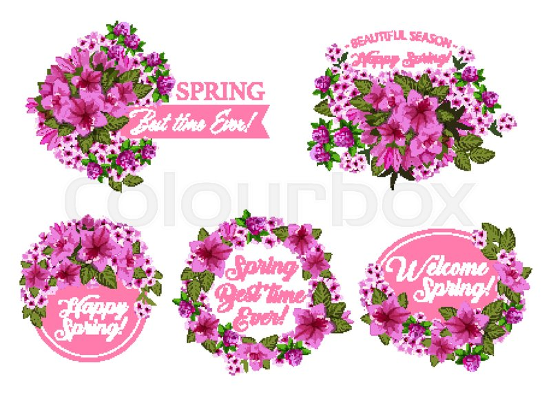 Spring season holiday icon with pink flower wreath and ribbon banner spring season holiday icon with pink flower wreath and ribbon banner springtime blooming garden plant with clover azalea and phlox blossom green leaf and mightylinksfo