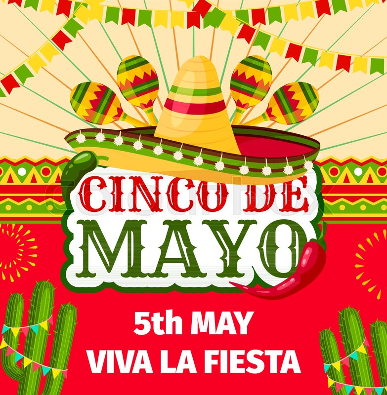 cinco de mayo fiesta invitation card for mexican holiday party celebration vector entry flyer design of sombrero and maracas jalapeno peppers and cactuses