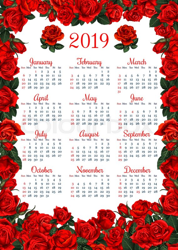year calendar template in red flower