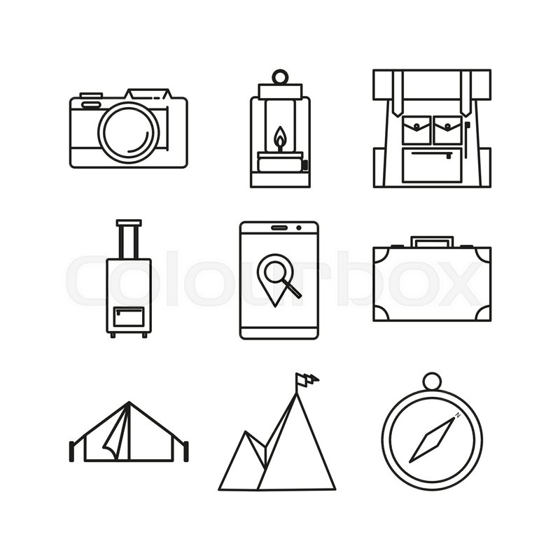 Simple Thin Outline Travel Adventure Line Icon Symbol Vector Illustration Graphic Design Set, vector
