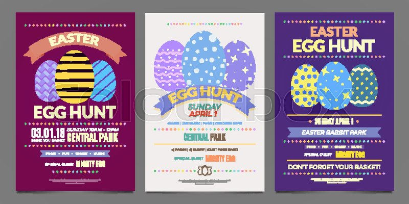 Set of Easter egg hunt fun game event poster templates | Stock ...