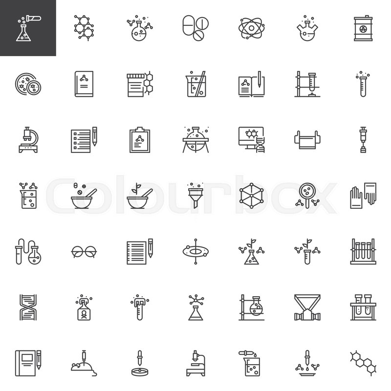 Chemistry Elements Outline Icons Set Linear Style Symbols