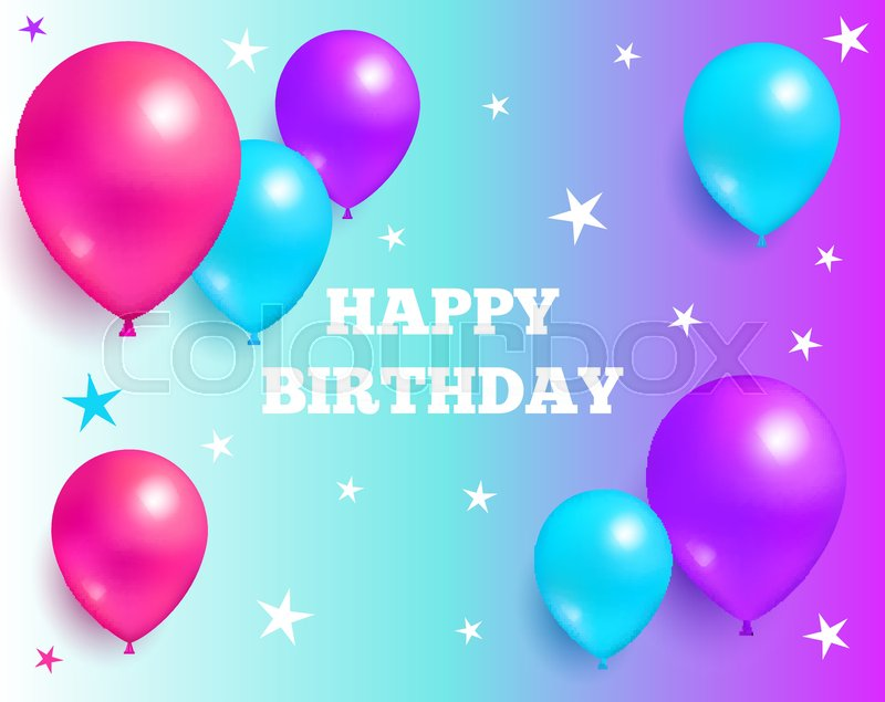 Happy Birthday Background Glossy Balloons With Stars On Purple And