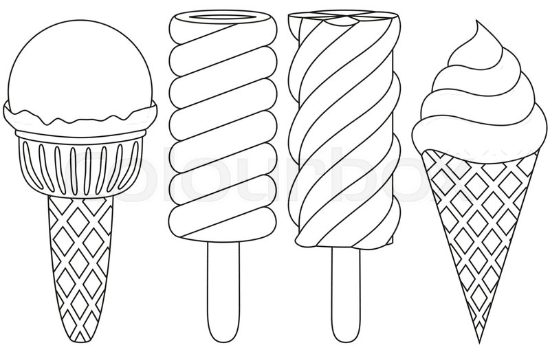Ice Cream Popsicle Cone Line Art Black And White Icon Set Coloring Book Page For Adults Kids Summer Fast Food Vector Illustration Gift Card