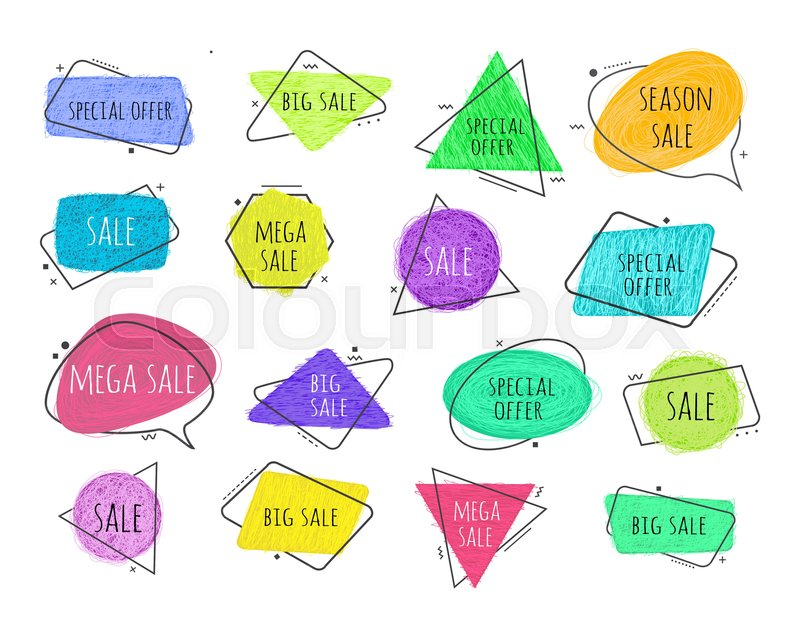 Vector grunge doodle circle, triangular, rectangle shape colored ...