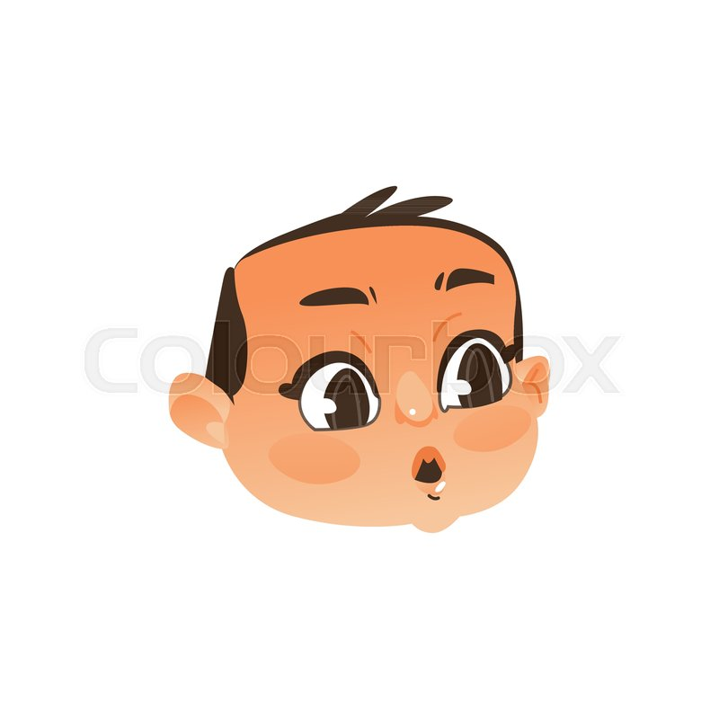 comic baby face head with wide open eyes and mouth showing surprise