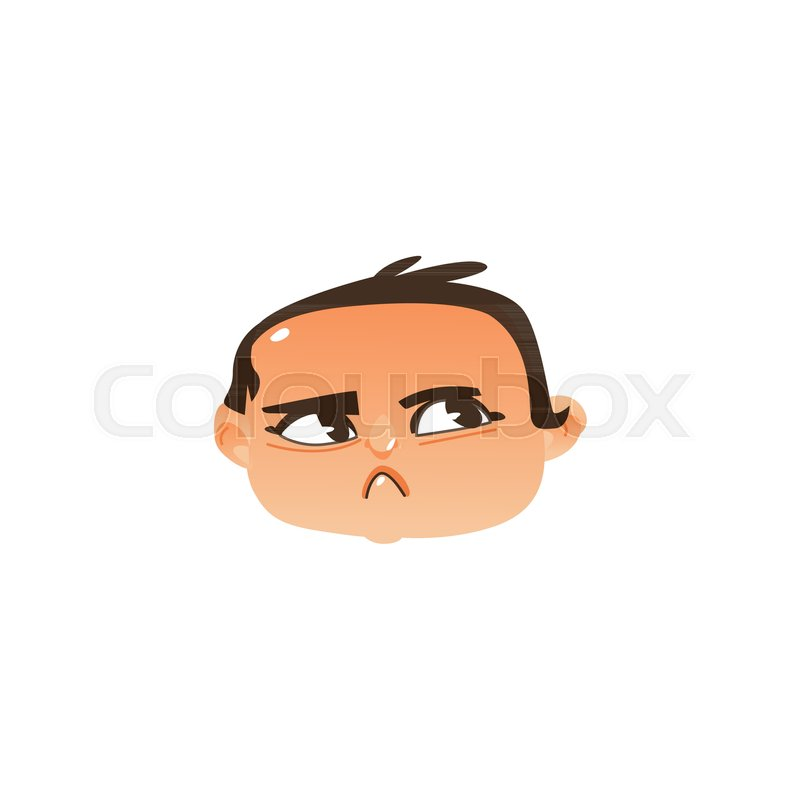 comic style baby head icon with angry suspicious face expression