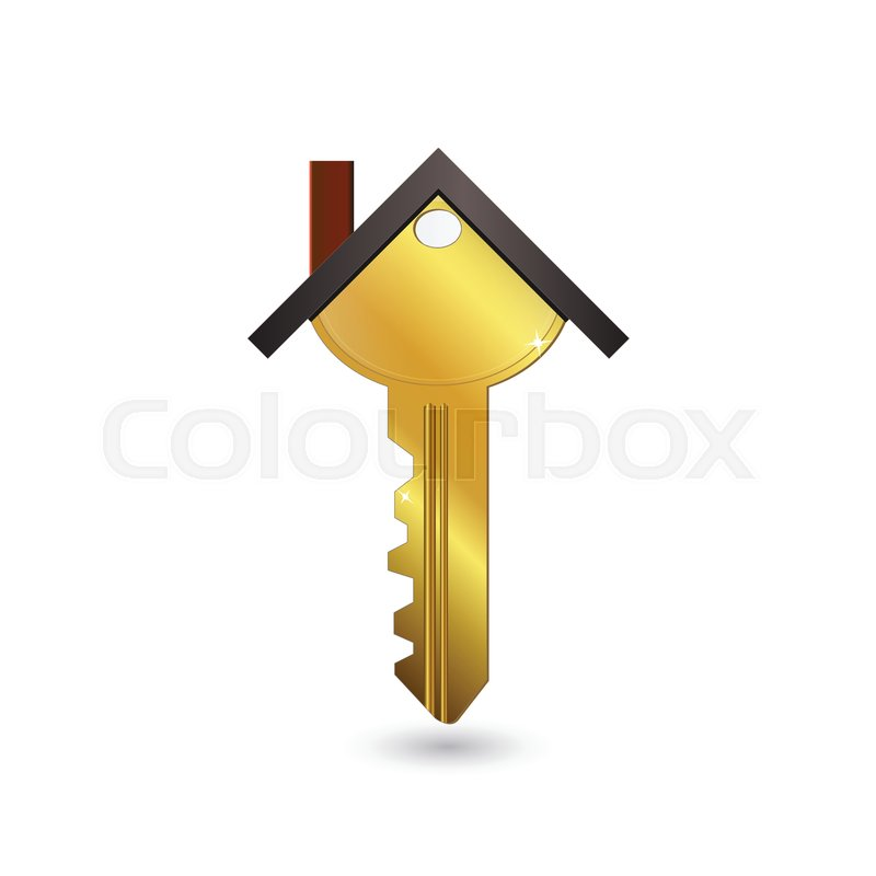 gold house key. Concept Image Of A Gold House Key Isolated On White Background.   Stock Vector Colourbox R