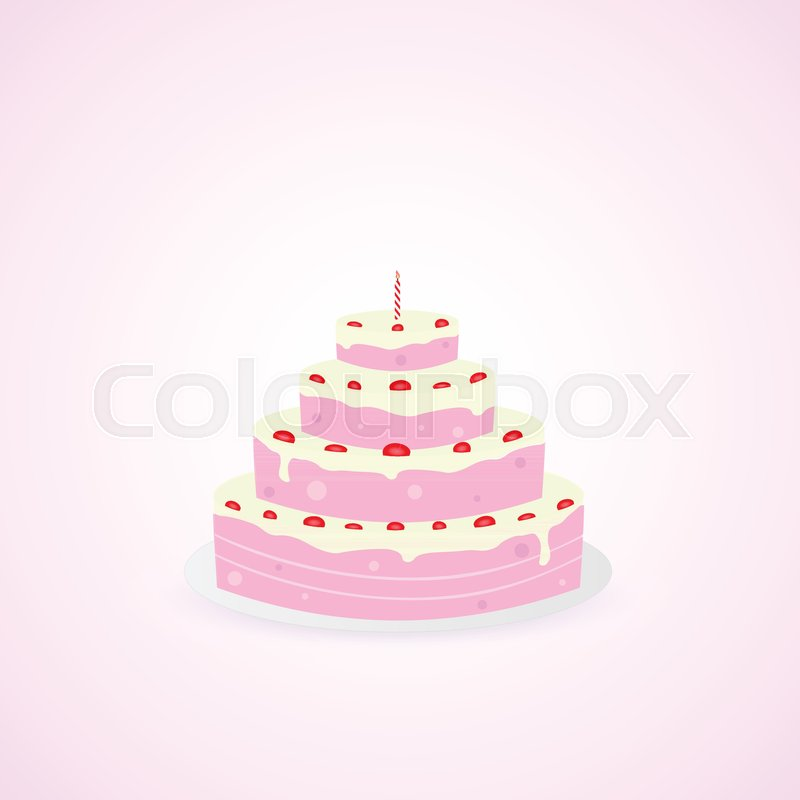 Illustration Of A Colorful Birthday Cake Isolated On A Colorful