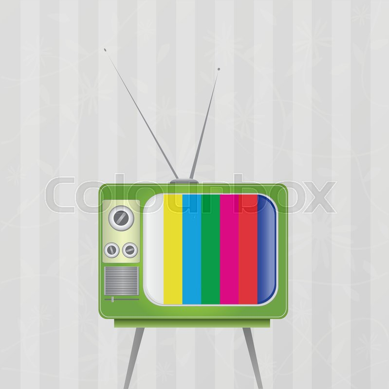 Illustration Of A Vintage Tv Isolated Against Wallpaper Background