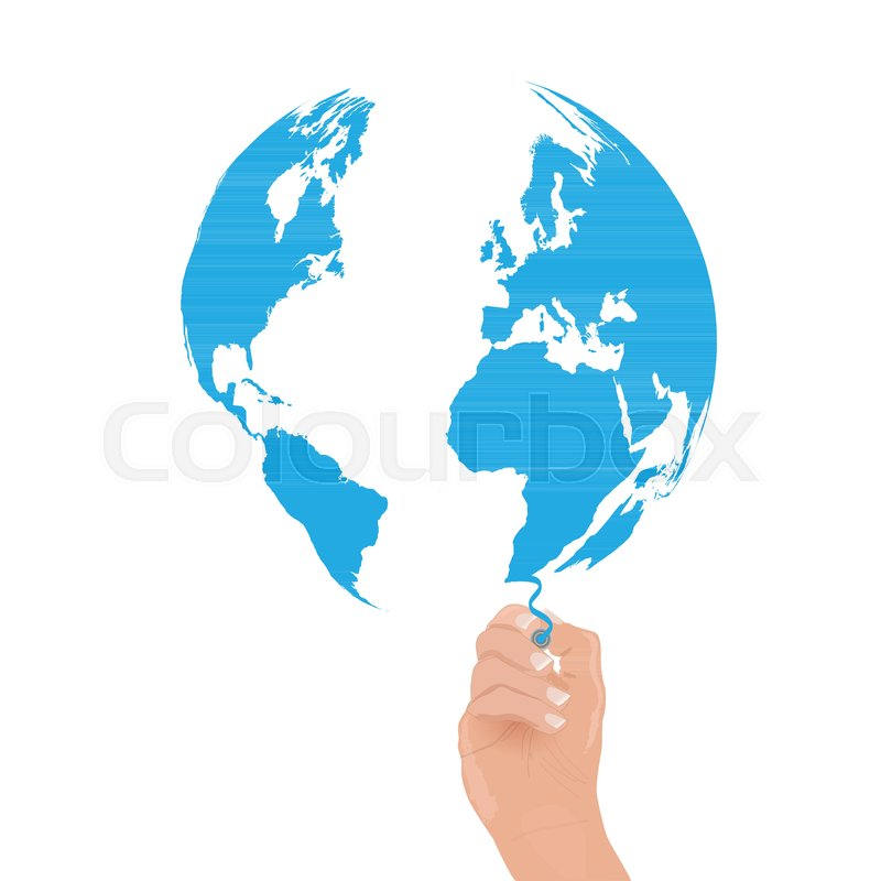 Image Of A Hand Drawing The World Map Stock Vector Colourbox