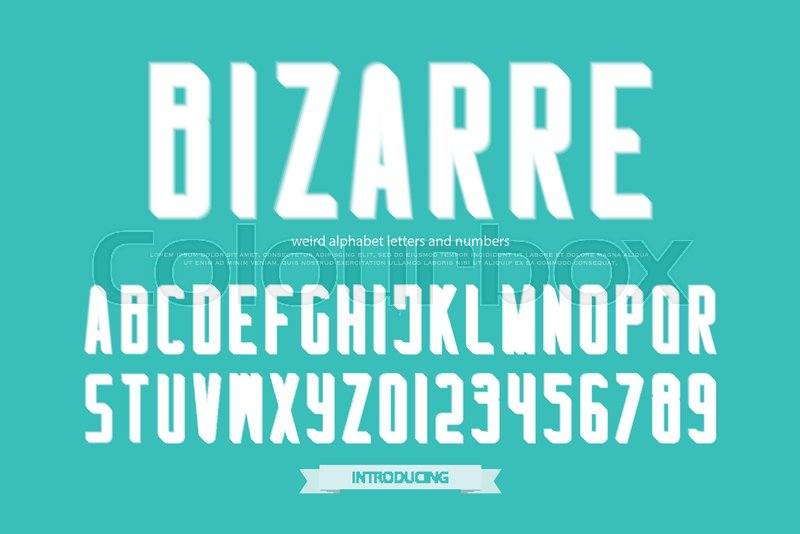 Weird Style Alphabet Letters And Numbers Vector Bizarre Font Type