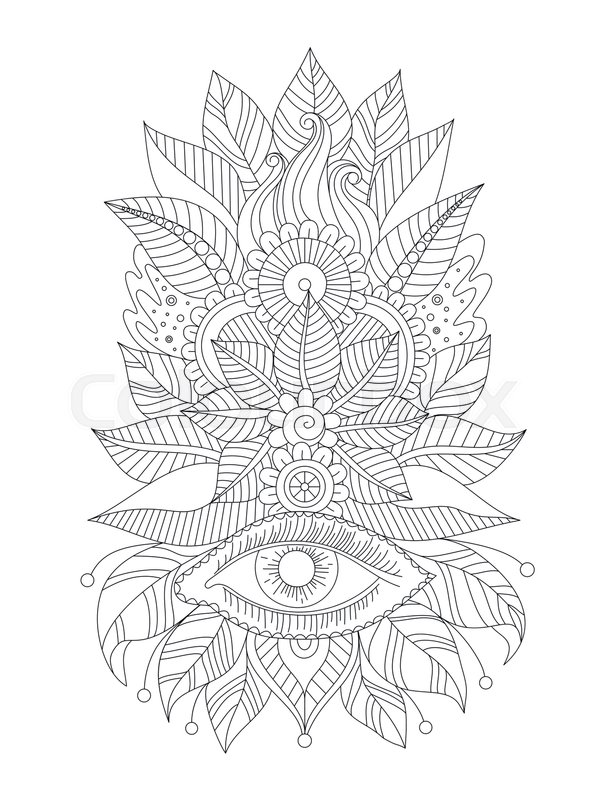 Floral Line Art Isolated Ornament Magical Eye Henna Mehendi Design Oriental Black And White Pattern Indian Traditional Vector Illustration