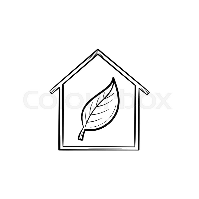 Ecology Friendly House With Leaf Hand Stock Vector Colourbox