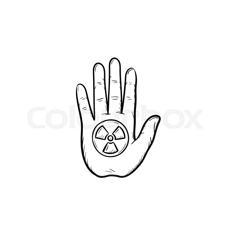 Stop Hand Sign With Ionizing Radiation Symbol Hand Drawn Doodle Icon