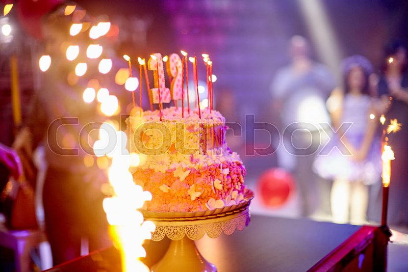 Cake Fireworks Party Holiday Butterflies Bat Mitzvah Stock Photo
