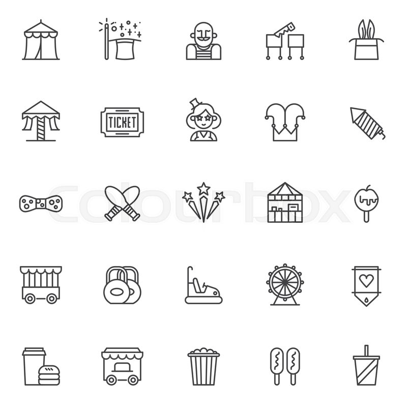 Circus Outline Icons Set Linear Style Symbols Collection Line