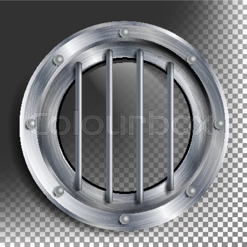 Silver Porthole Vector Round Metal Window With Rivets Bathyscaphe