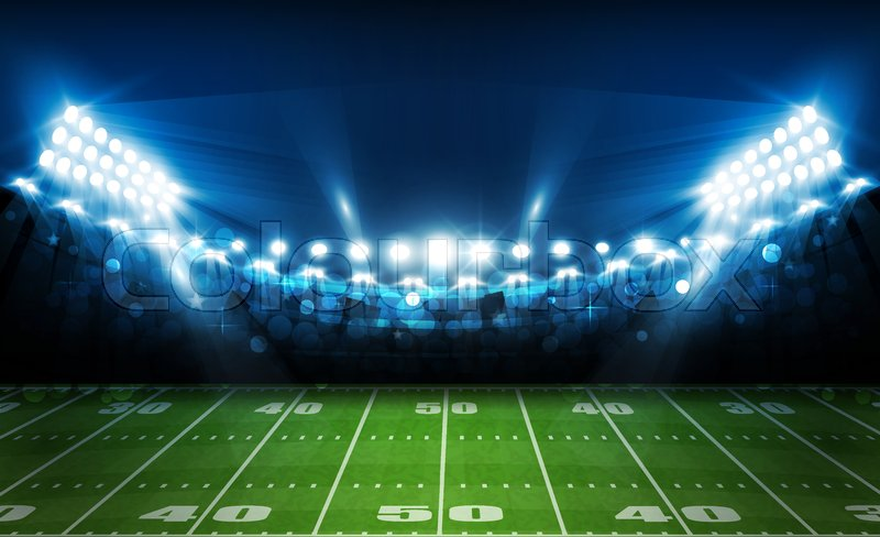 american football arena field with bright stadium lights design  vector illumination