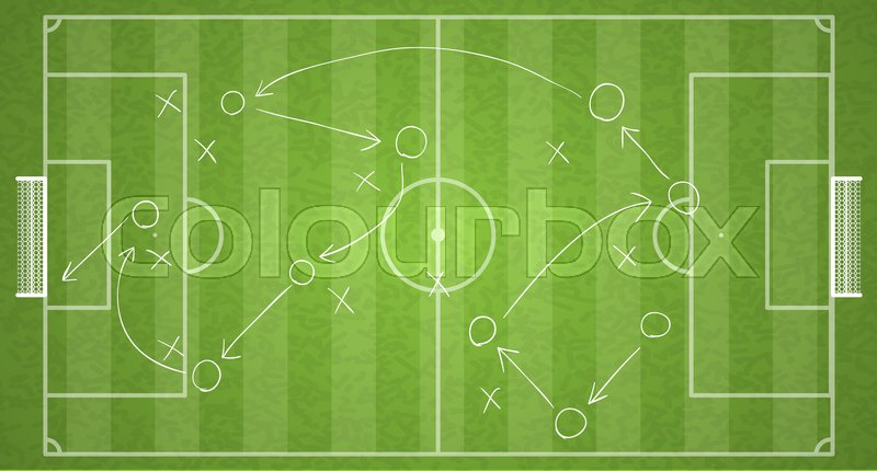 Top View Football Field Drawing A Stock Vector Colourbox