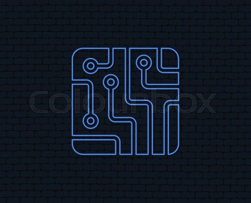 Neon light. Circuit board sign icon. Technology scheme square symbol ...
