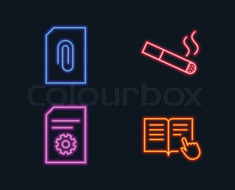 Neon Lights Set Of Attachment Smoking And File Settings Icons