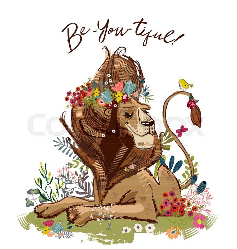 Cute Cartoon Lion King Vector Birthday Card Stock Vector Colourbox